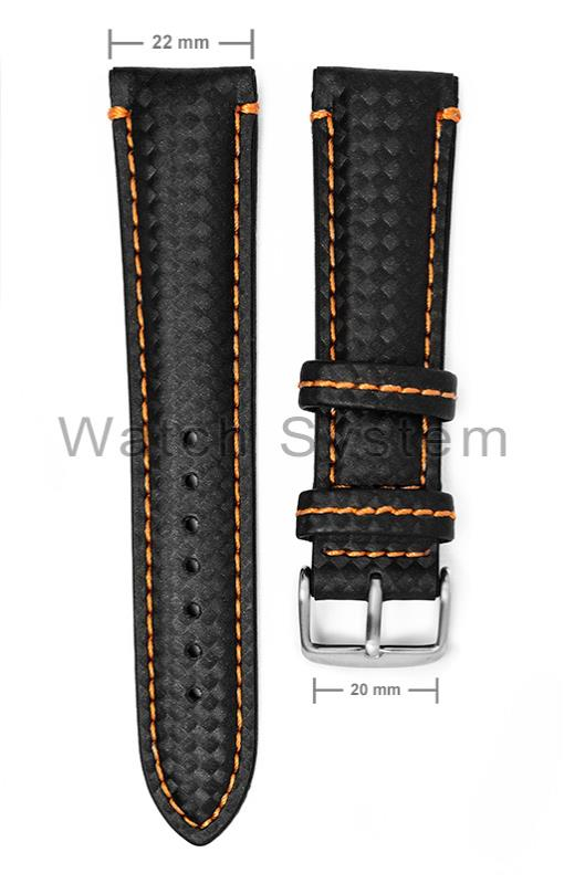 559e4b40f9d PULSEIRA WS PRETA C  COSTURA LARANJA - COURO - 4192 - Watch System